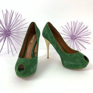 7fe550df06f ZARA   Green Gold Platform Peep Toe Heel